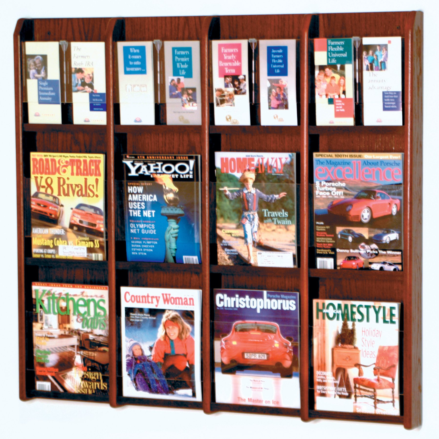 DMD Literature Wall Display, 12 Magazine / 24 Brochure Wall Display with Brochure Inserts, Mahogany Wood Finish by Discount Medical Depot LLC