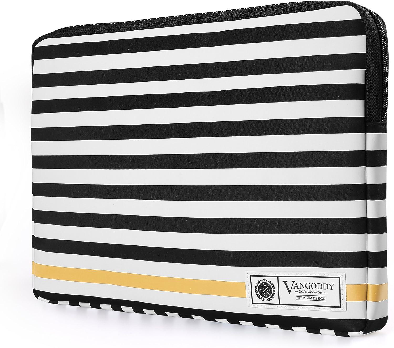 Vangoddy Luxe G Series 15.6 Inch Black White Stripe Padded Carrying Sleeve for Acer Chromebook 15, Aspire 2016, V15, V Nitro, E, V3 15.6 inch Laptop