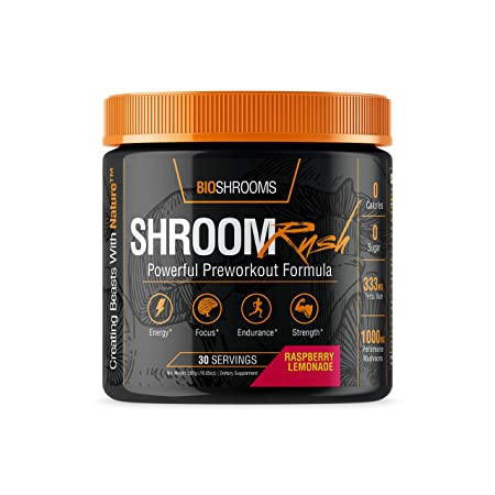ShroomRush – All-Natural Pre-Workout Nootropic by BioShrooms Energy, Focus Strength w Performance Mushrooms Lion s Mane Cordyceps , BCAAs, Yerba Mate, Vitamins More – 30 Servings