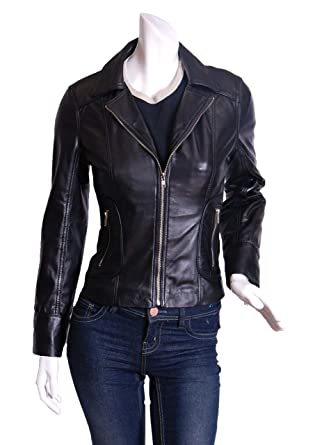 Soft Lamb Skin Womens Biker Leather Jacket SHIRLEY at Amazon ...