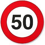 50. Geburtstag Geschenk, PVC Schild - Verkehrsschild (20 x 20 cm), Geschenkidee Geburtstagsgeschenk runder Geburtstag 50er - Geburtstagsfeier, Kleine und süße Überraschung für das Geburtstagskind
