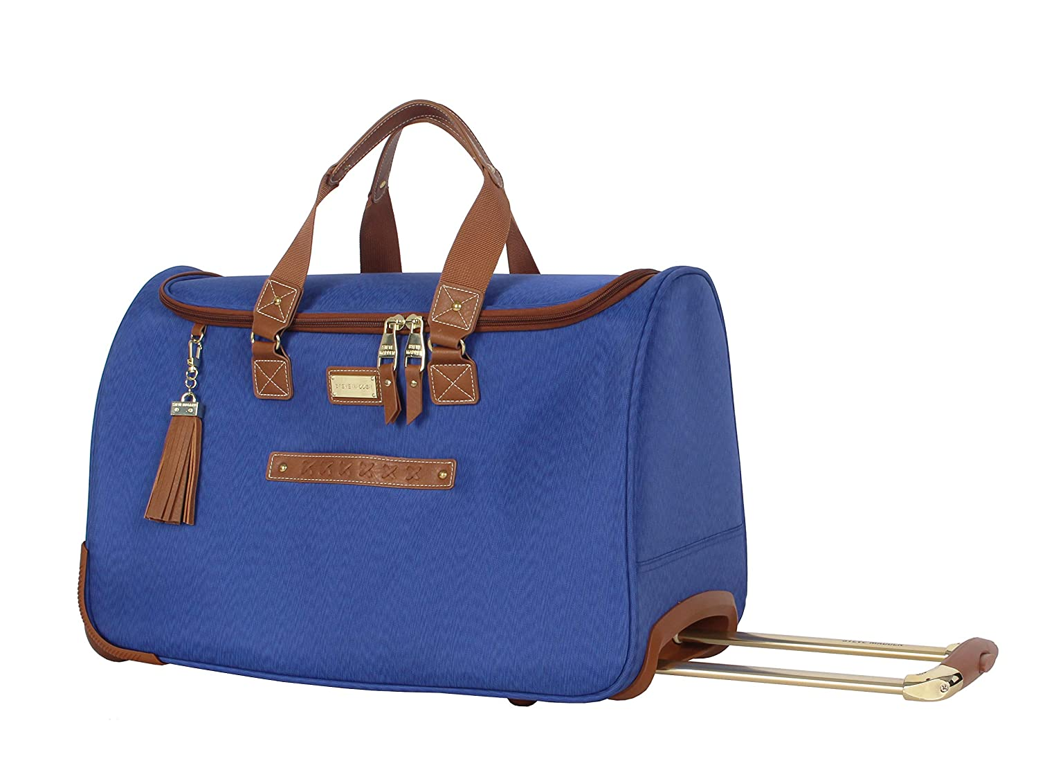 Steve Madden Designer Carry On Luggage Collection – Lightweight 20 Inch Duffel Bag- Weekender Overnight Business Travel Suitcase with 2- Rolling Spinner Wheels Global Blue