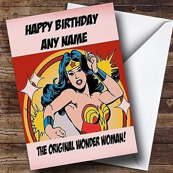 Original Wonder Woman – Tarjeta de felicitación de cumpleaños personalizable, texto en inglés, diseño