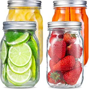 Large Mason Jars 32 oz, EAXCK Wide Mouth Mason Jars with Lids and Bands 4 PACK, 32 oz Canning Jars Cookie Jars Ideal for Food Storage, Canning,Drinking, Fruit & Vegetable Slices, 6 Labels and One Pen Included