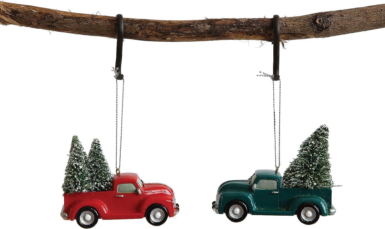 Christmas Vacation Pickup Truck Hanging Christmas Ornament Set of 2