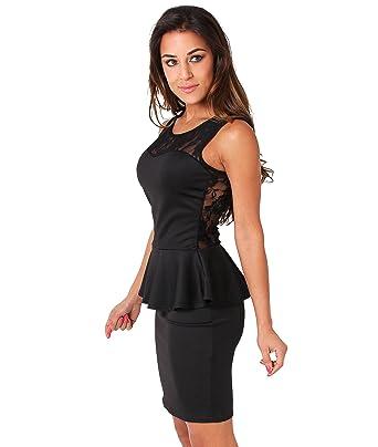KRISP® Womens Peplum Pencil Wiggle Lace Bodycon Dress Size 8 10 12 ...