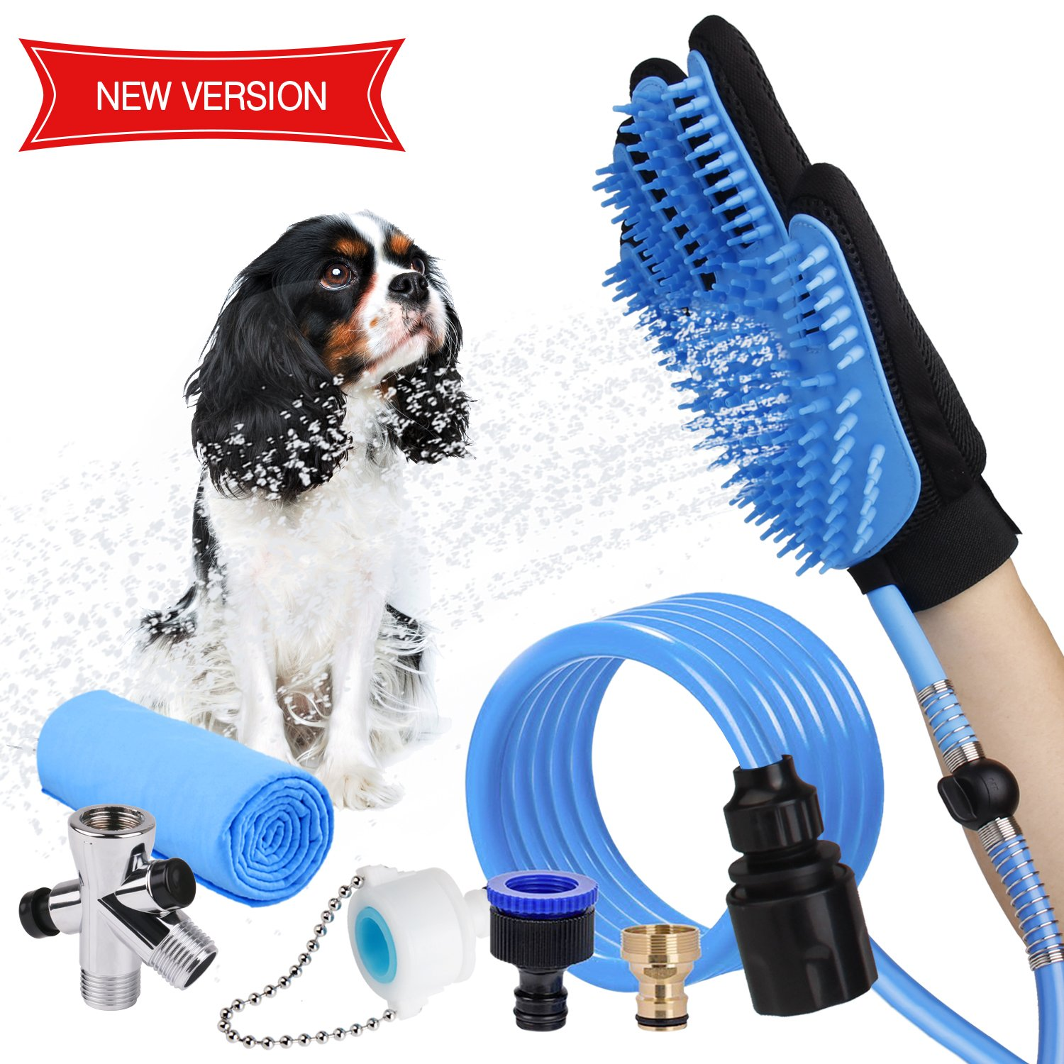 WOWGO NEWEST 4 in 1 Pet Shower Kit with FREE Towel, Pet Shower Sprayer for Dog and Cat Bathing Massage, Shower Attachment with Diverters for Indoor & (blue new)