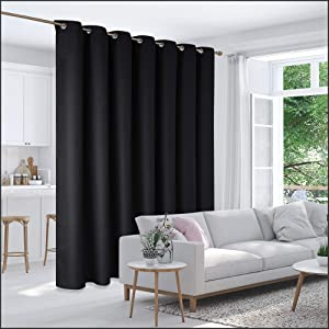 Deconovo Room Divider Curtain Thermal Insulated Blackout Patio Door Curtain Panel Wide Blackout Curtain for Sliding Glass Door, 8.3ft Wide x 8ft Tall, 1 Panel, Black