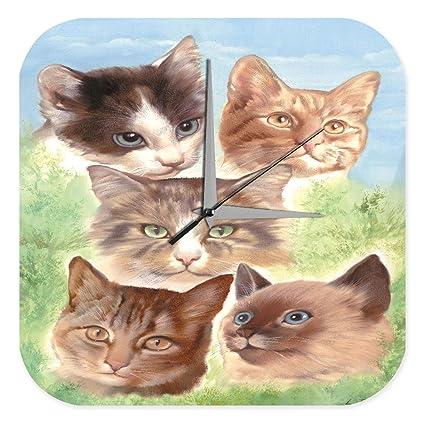 Reloj De Pared Cocina Marke gatos de raza Birmania gato Plexiglas Imprimido 25x25 cm