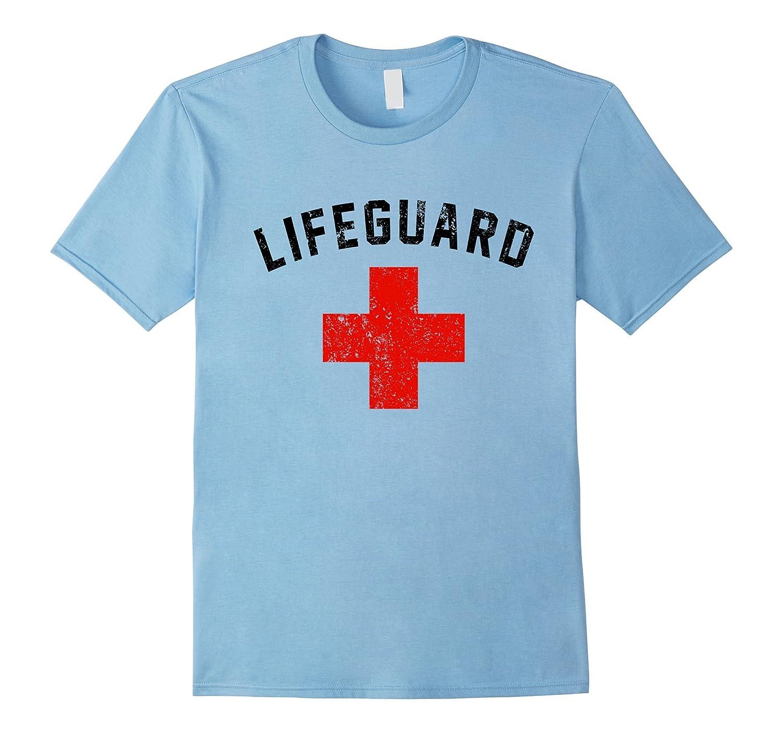 Lifeguard Red  Black Swimming Pool Shirt Distressed T-Shirt-CD