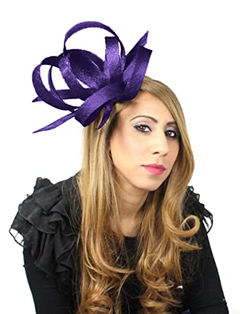 Hats By Cressida Hurricane Sinamay Ascot Fascinator Hat Women s With  Headband - Aubergine 63feffdde89