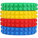 Building Blocks Tape (4 Rolls) Colorful, Flexible Silicone Brick Base | Kid-Friendly, Easy to Cut and Build Adhesive Strips | 3.2' Long | Red, Yellow, Blue, and Green | Boys, Girls | Arts, Crafts