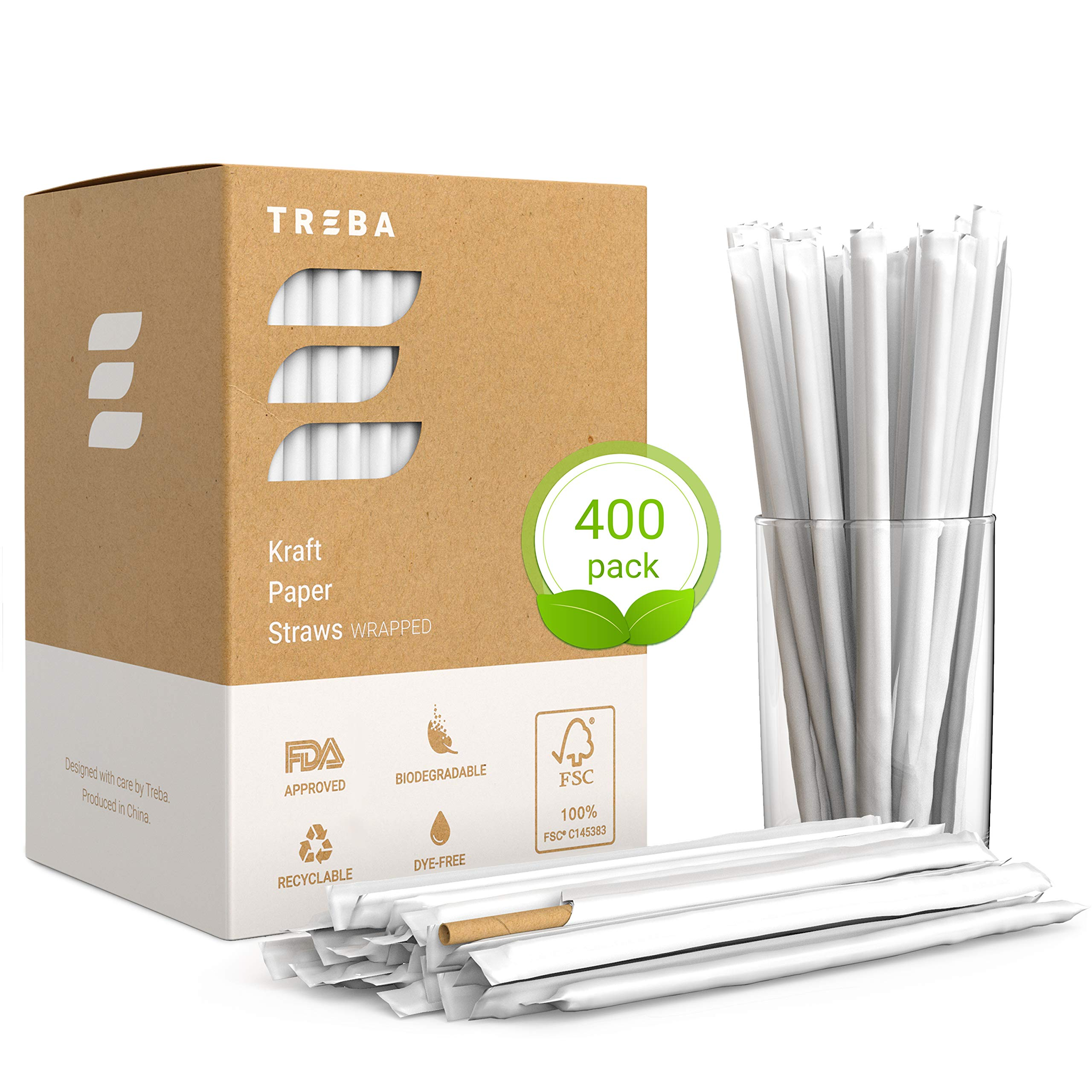 Eco-Friendly Paper Straws - Wrapped 400 pcs Biodegradable Drink Straws - Bulk Pack Dye Ink Free Kraft Drinking Straws by TREBA