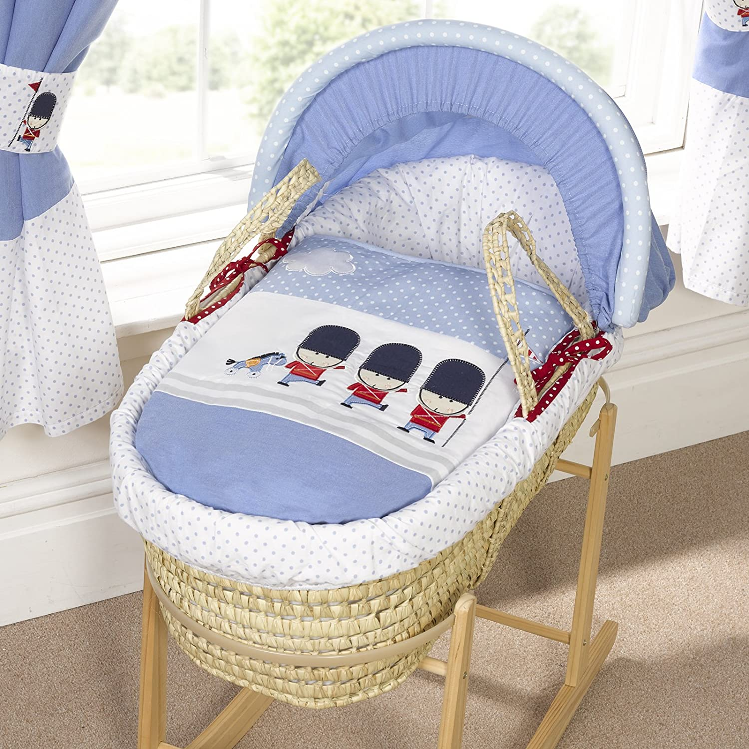 Bizzi Growin Designer Padded Palm Moses Basket Night Night Soldier (Moses Basket & Stand)