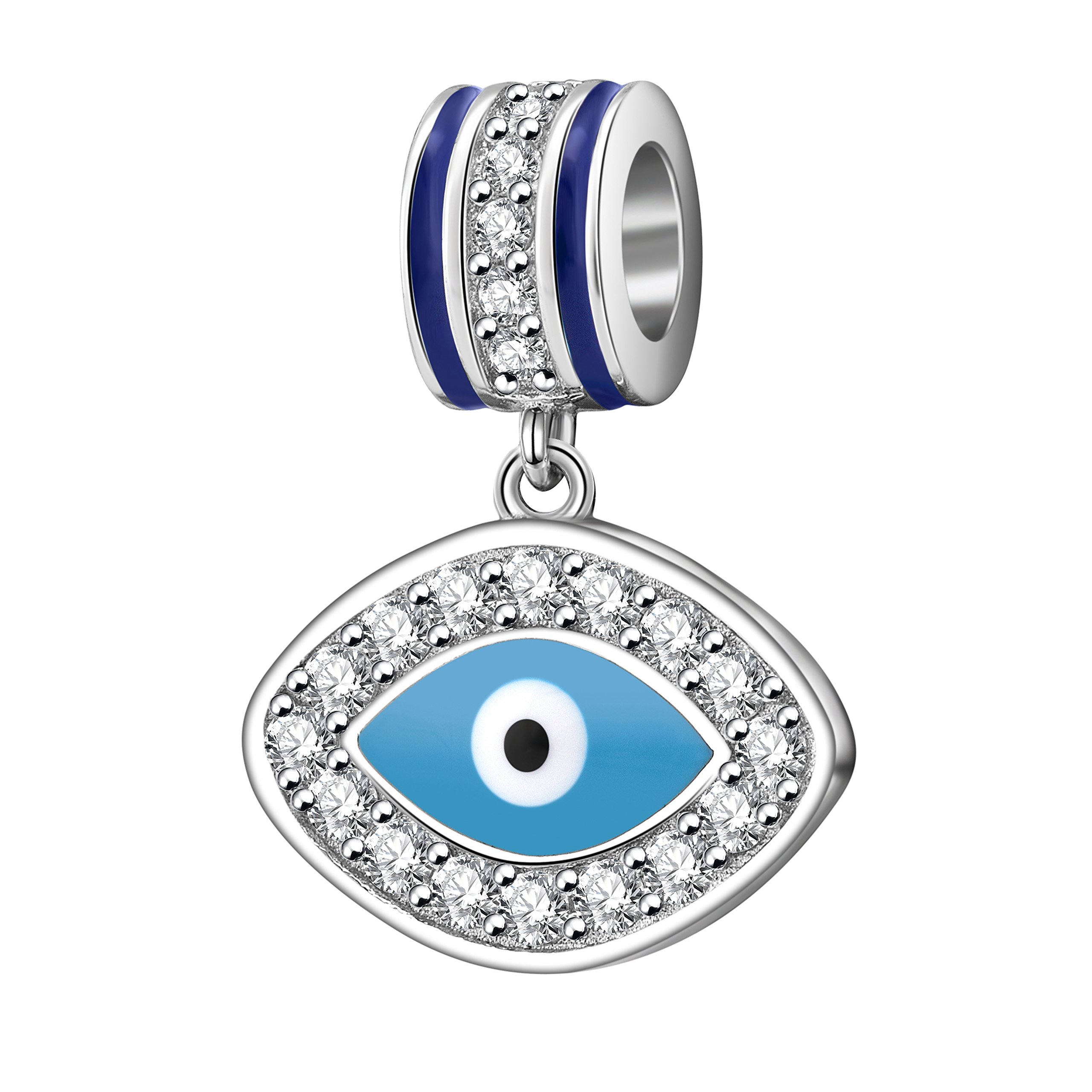 Evil Eye Charms 925 Sterling Silver Symbol of Insight Bead Lucky Charm for European Bracelet (C)
