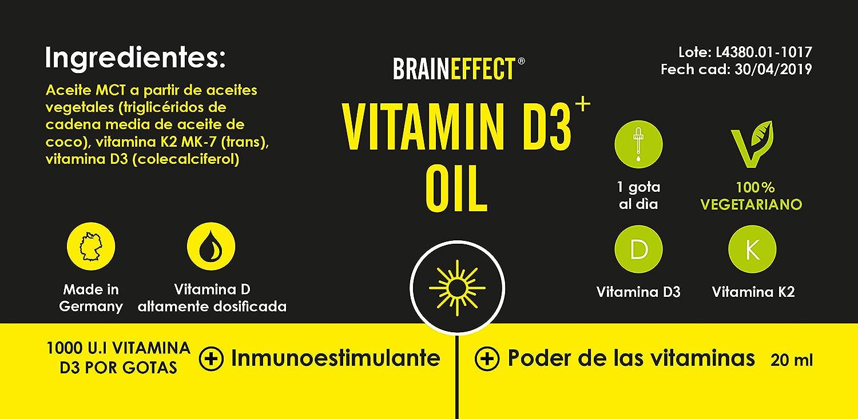 BRAINEFFECT VITAMIN D3 ⁺ ACEITE K | 20ml de vitamina D3 y vitamina K2 disuelta en aceite de MCT | Altamente dosificada con 1000 I.E./25 µg por gota ...