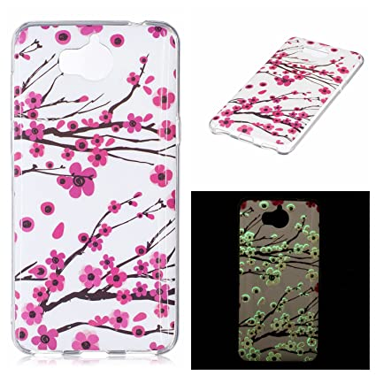 HuaWei Y5 2017 Case, Luminous Noctilucent Glow in the Dark Case Matching  Design Protective Phone Back Cover TPU Shell Case for HuaWei Y5 2017 (Plum)