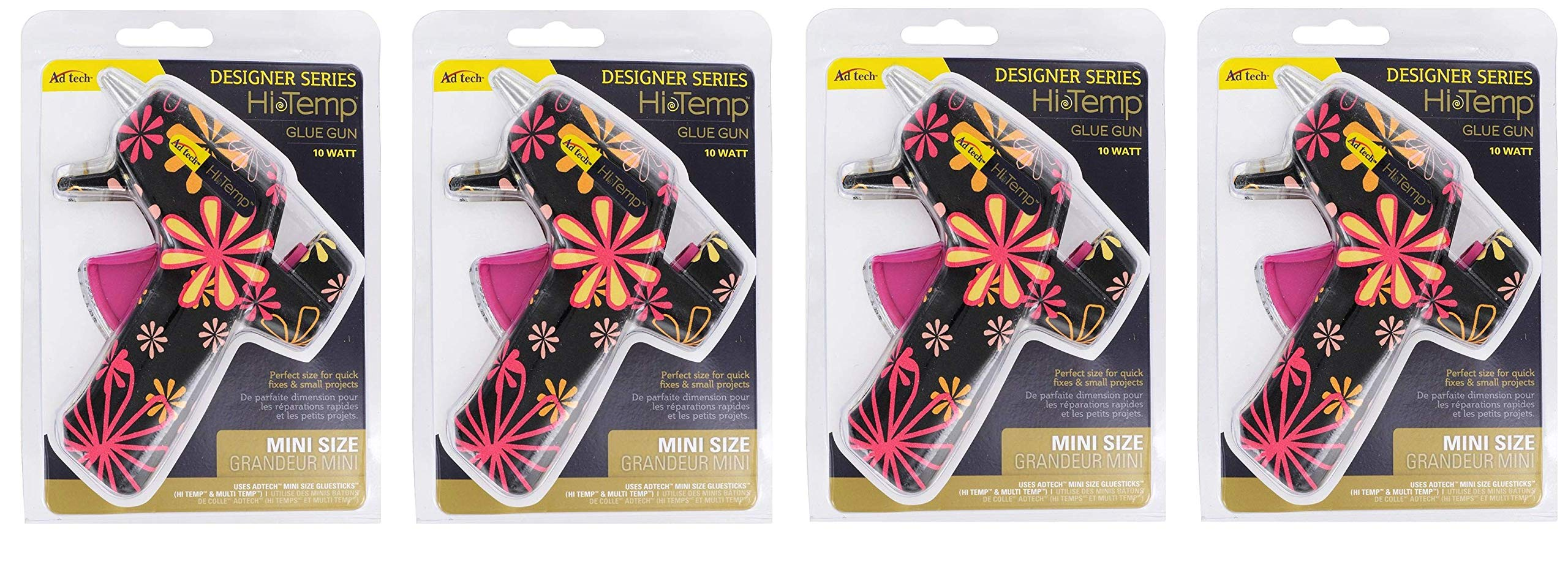 AdTech High Temp Mini Hot Glue Gun in Black Daisy | Arts and Crafts and DIY | Fun and Cute Tool | Item #0502 (Fоur Paсk)