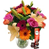 Fresh Flowers Carnival Bouquet with FREE Chocolates - Vibrant Bouquet of Roses, Lilies and Carnations, Hand Designed by Expert Florists, Perfect for Birthdays, Anniversaries and Special Celebrations