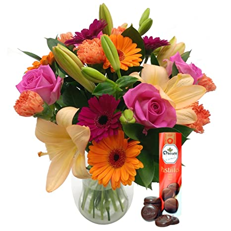 Clare Florist Carnival Free Chocolates Vibrant Bouquet Of Fresh Flowers With Roses Lilies And Carnations