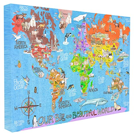 The Kids Room by Stupell Our Big Beautiful World Map Oversized Stretched  Canvas Wall Art