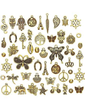 ca05dfcb7b9b juanya al por mayor 50 piezas dorado antiguo varios encantos DIY Colgantes  para fabricación de joyería