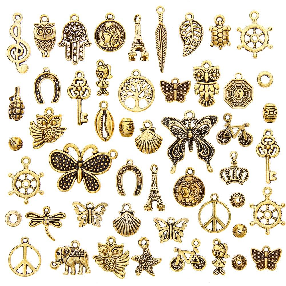 JuanYa Vente en gros de breloques 50pièces mixtes Pendentifs assortis pour la fabrication de bijoux et lartisanat