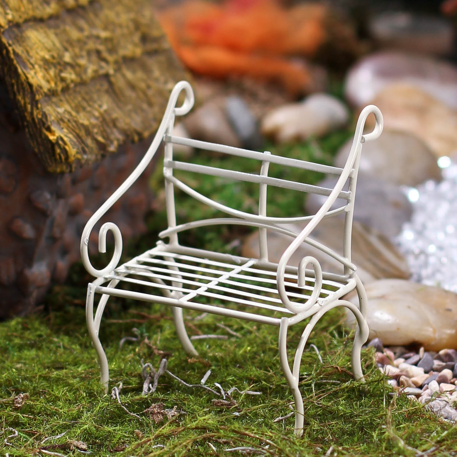 Prime Pair Of Miniature Fairy Garden Size Antique White Wire Sitting Bench Pabps2019 Chair Design Images Pabps2019Com