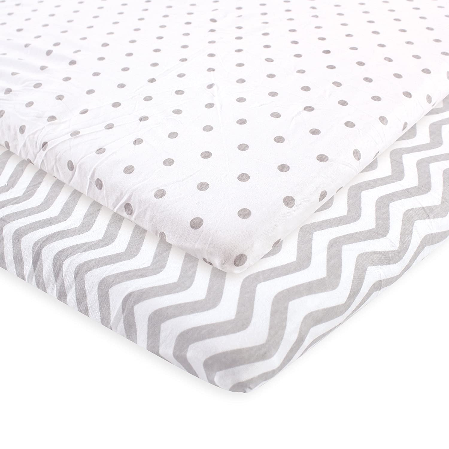 Luvable Friends Fitted Playard Sheet, 2 Pack, Pink Chevron and Dots, One Size BabyVision Inc. Children' s Apparel 04178