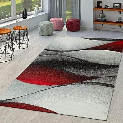 Moderno Tappeto Per Soggiorno Astratto Onde Design Taglio Sagomato In  Rosso, Größe:160x230 cm
