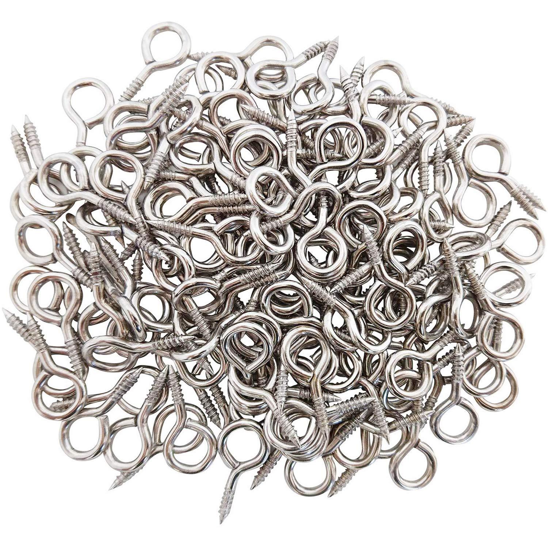 WANBAO 1 Inch Small Screw Eyes Metal Screw Hooks Ring Screws Fasteners Hardware Tools 100 Pcs.