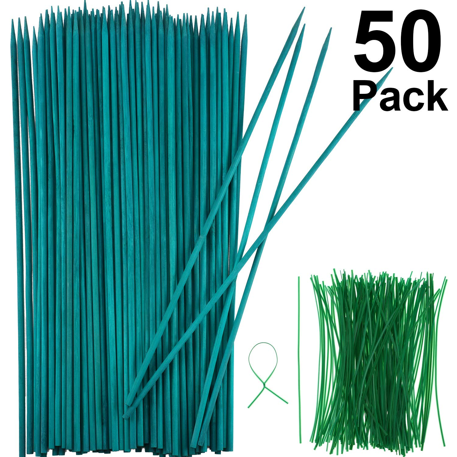 Green Wood Plant Stake Floral Plant Support Wooden Bamboo Stake Natural Craft Picks with 100 Pieces 15 cm Long Green Metallic Twist Ties (40 cm, 50 Pieces)