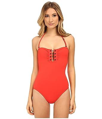 e05d07e9ca Proenza Schouler Barbell Trim One Piece Bandeau Swimsuit Crimson at ...