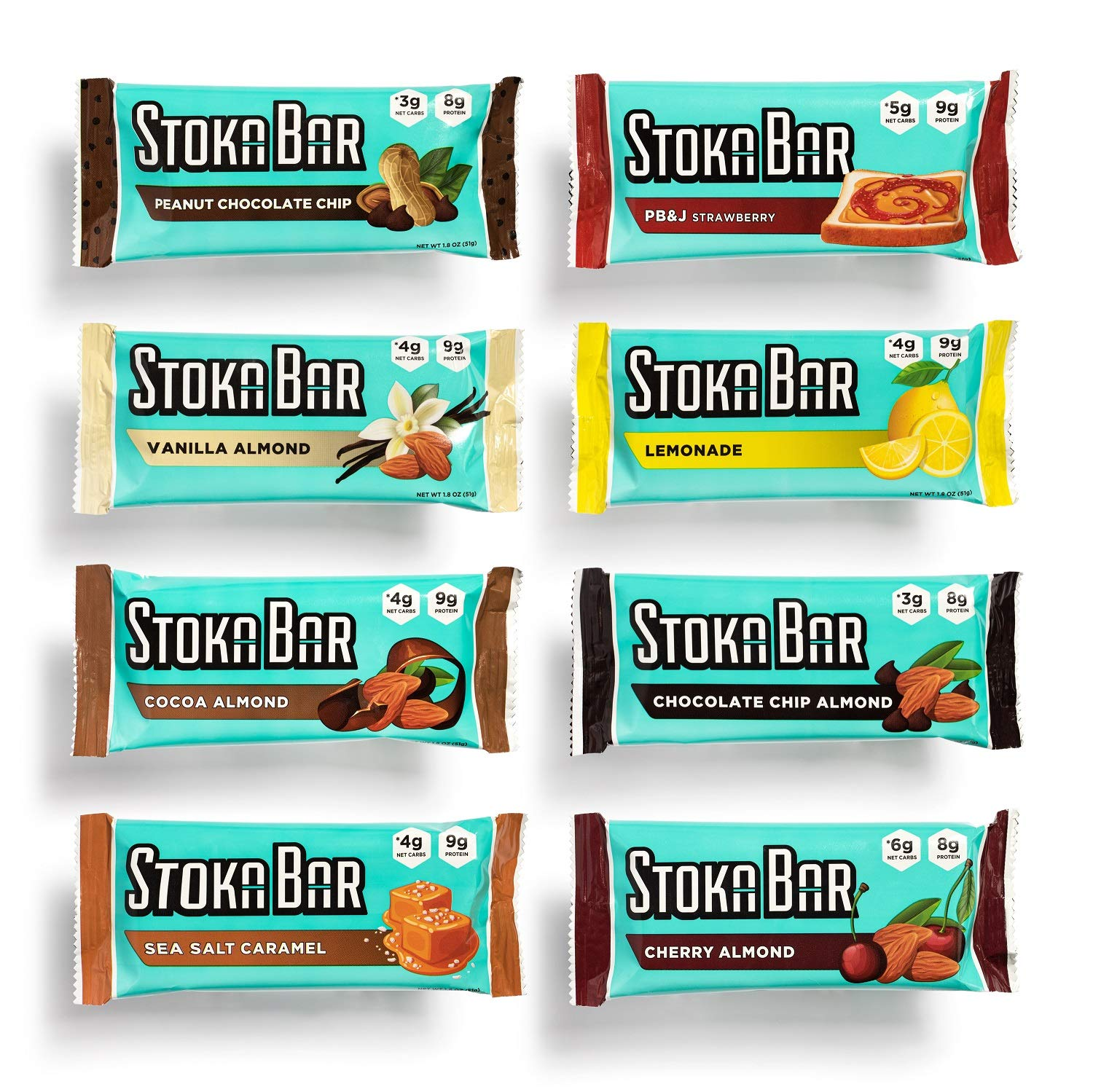 Stoka Bars| 8-Flavor Variety Pack | All Natural Energy Bar | High Protein Low Carb | Keto and Vegan Friendly | 8 Count by Stoka