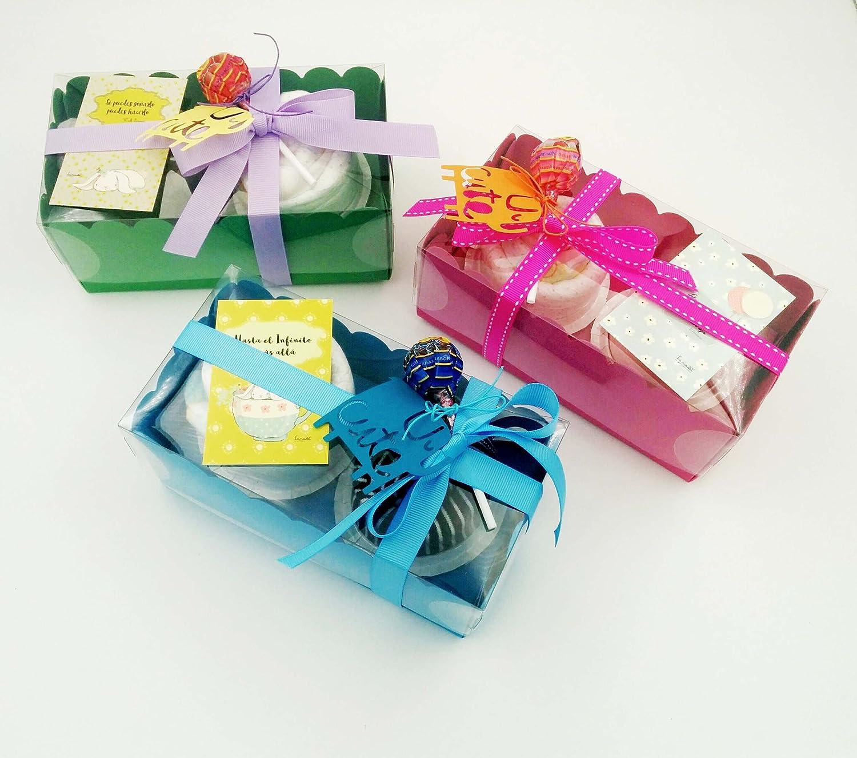 Regalo MUY Original para Recién Nacidos: BODY y GORRITO de marca con Pañal DODOT en forma de Cupcakes | Talla 1-6 meses | 100% Algodón | Todo es DE MARCA ...