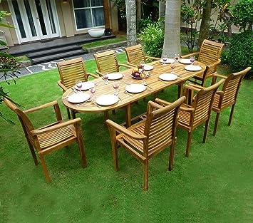 Salon de jardin en teck 8 fauteuils de jardin en teck empilables ...