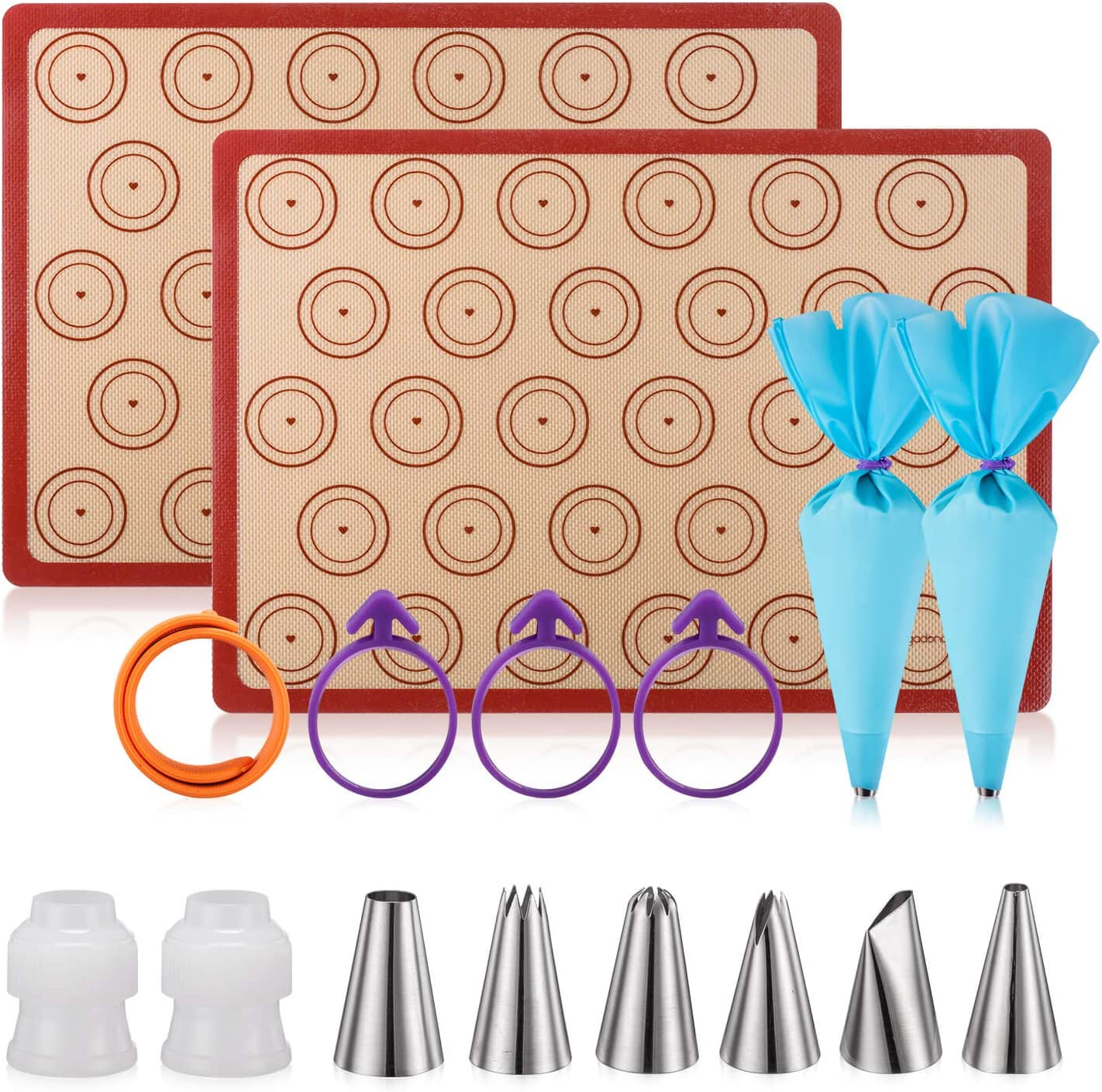 Set of 2 Silicone Baking Mat Kit, 2 Piping Bags, 6 Piping Tips, 3 Bag Ties, with 2 couplers