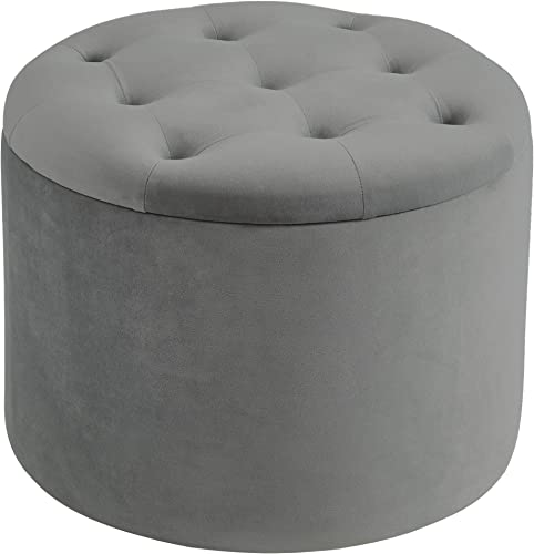 nspire Button Tufted Velvet Storage Ottoman