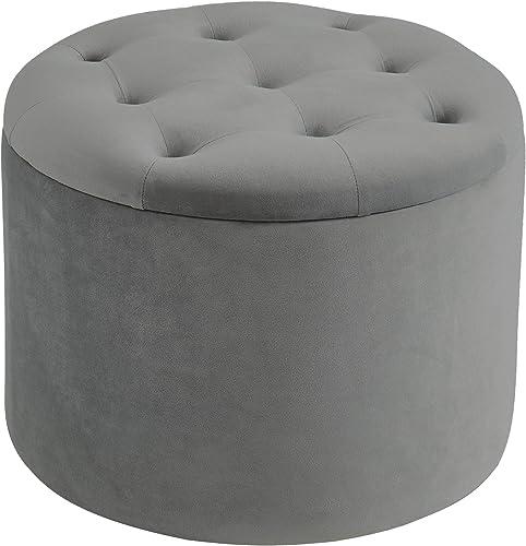 nspire Button Tufted Velvet Storage Ottoman