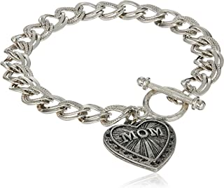 product image for 1928 Jewelry Mother's Day Items Silvertone Mom Heart Charm Bracelet, Silver