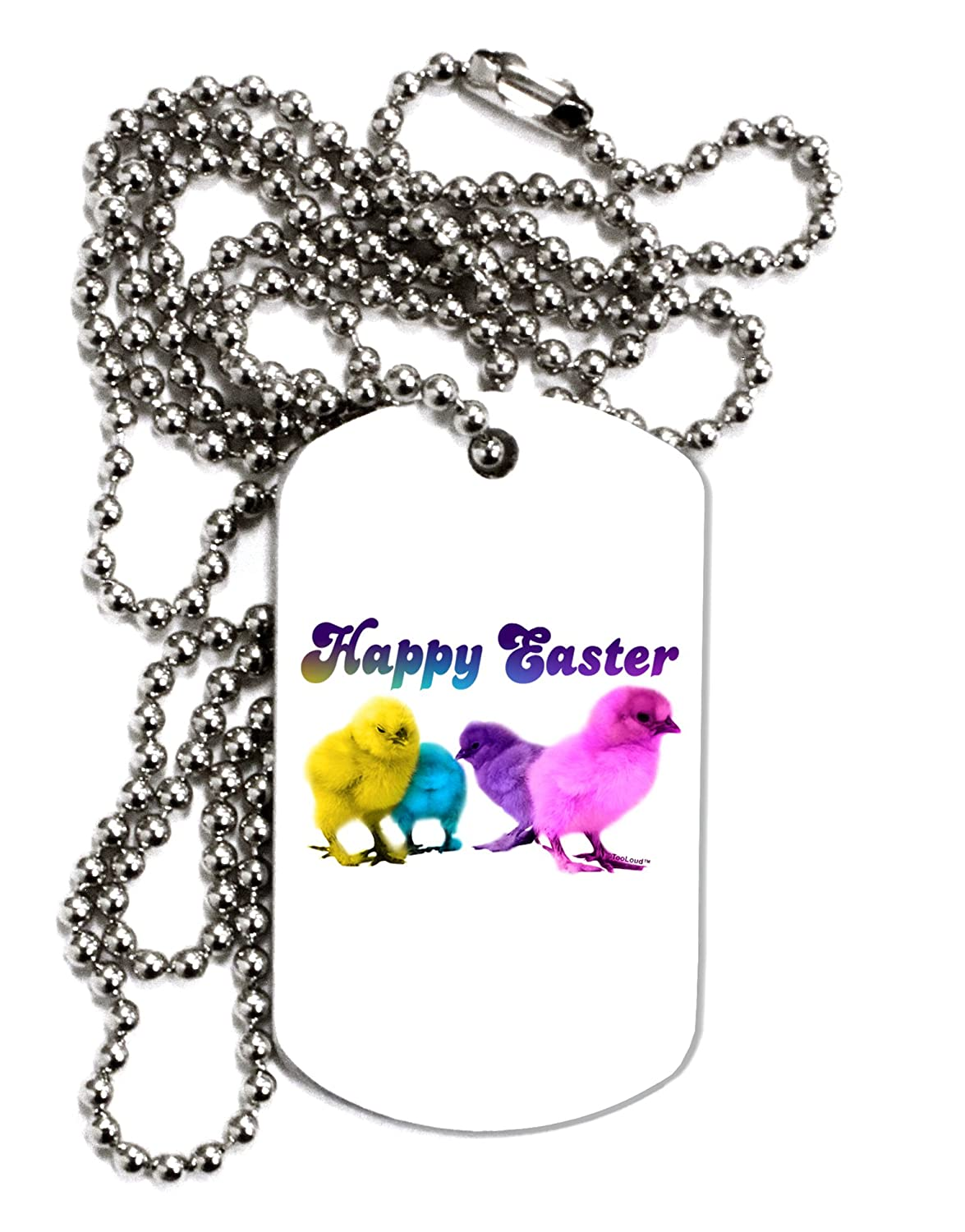 TooLoud Happy Easter Peepers Adult Dog Tag Chain Necklace