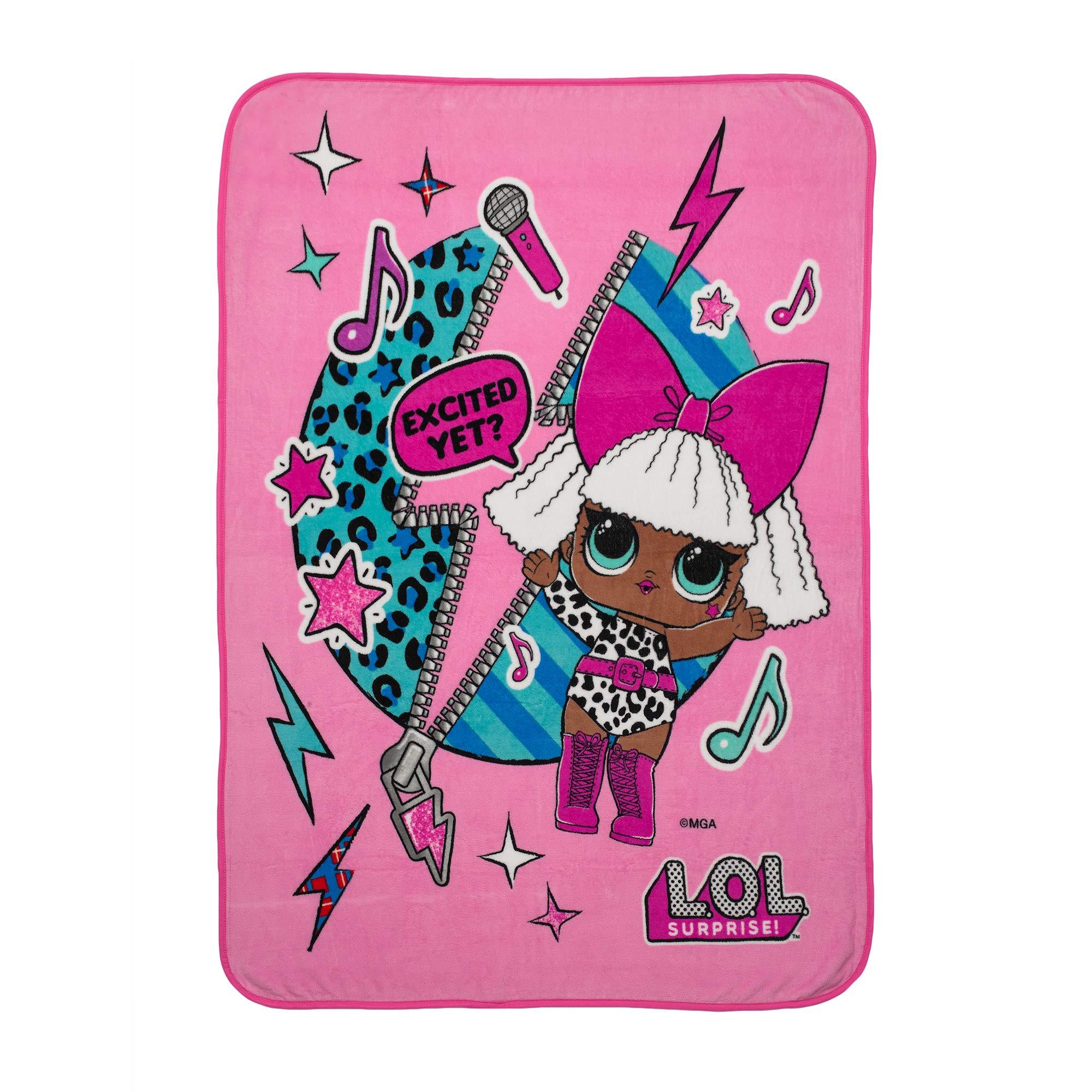 L.O.L. Surprise! Diva Character Kids Bedding Ultra Soft Plush Throw, 46'' x 60'', Pink