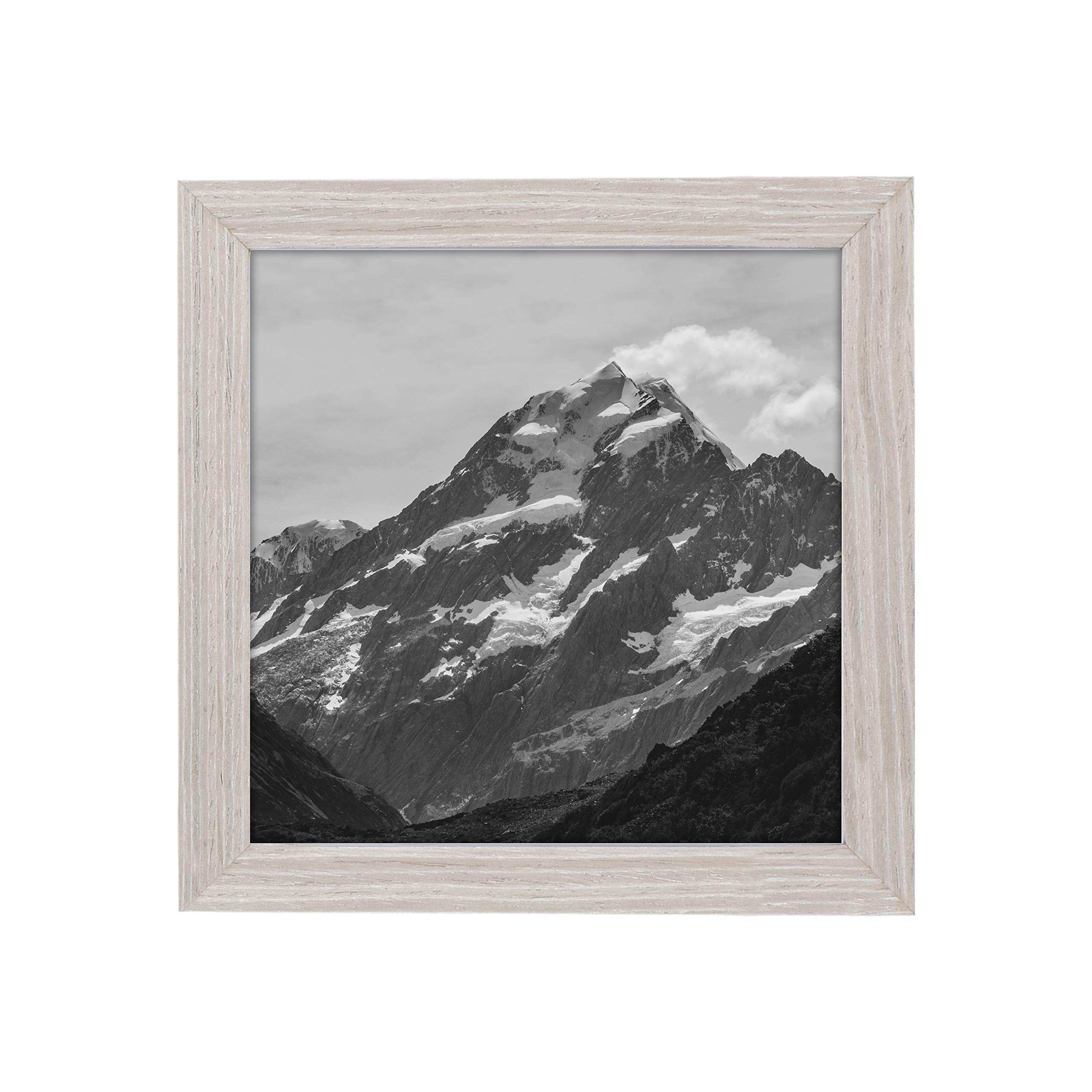 EcoHome 8x8 Wood Picture Frame - or 4x4 Matted, Natural Oak, Modern Square, Hanging Kit Included