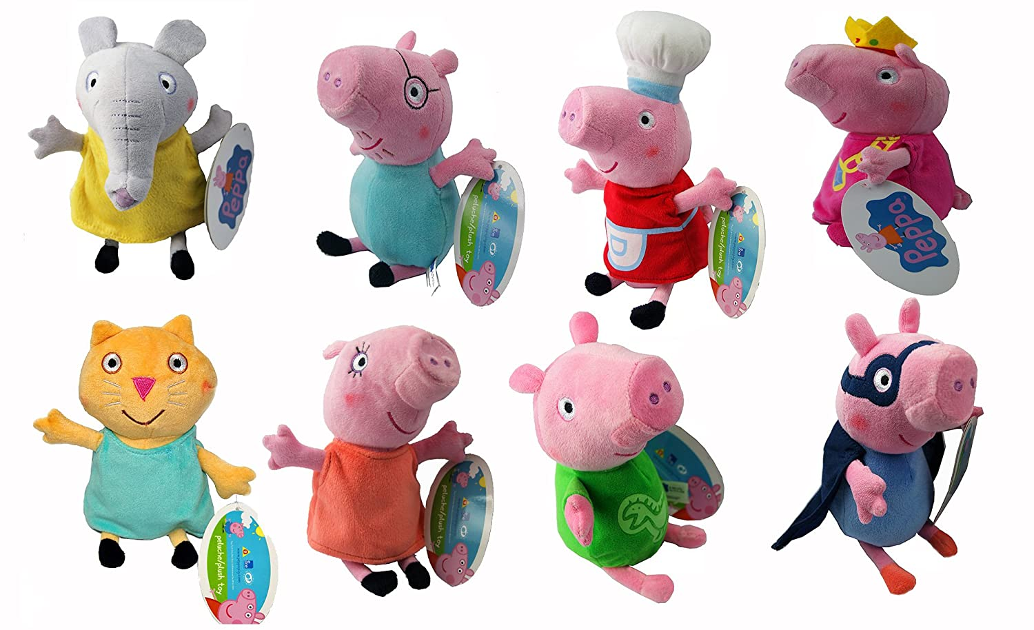 Amazon.com: Adorable Original Peppa Pig Family & Friends Plush Toys, 8 Different Characters,8 assorted peppa pig soft toy (Daddy Pig): Toys & Games