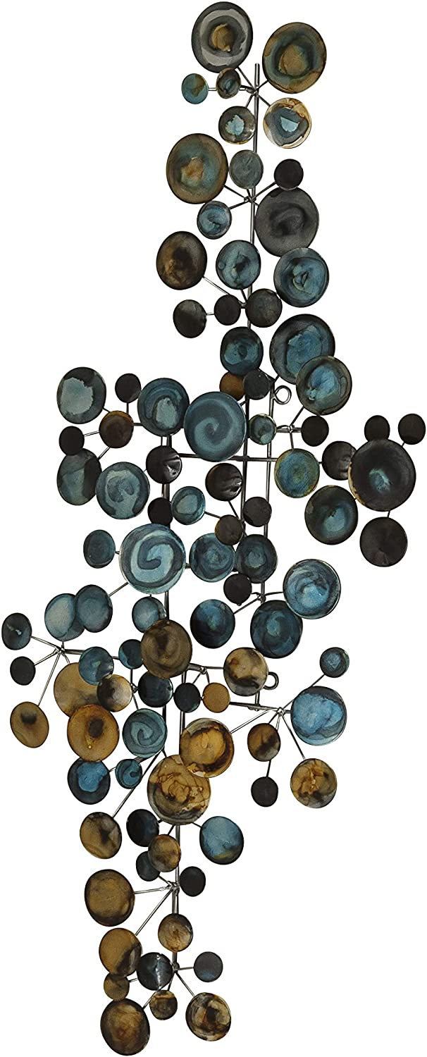 WHW Whole House Worlds Atelier Abstract Metal Wall Art, Floating Blue and Gold Circles, Handcrafted, Welded Wire Rods, Iron, Vertical or Horizontal Orientation, 35.5 x 15.75 Inches