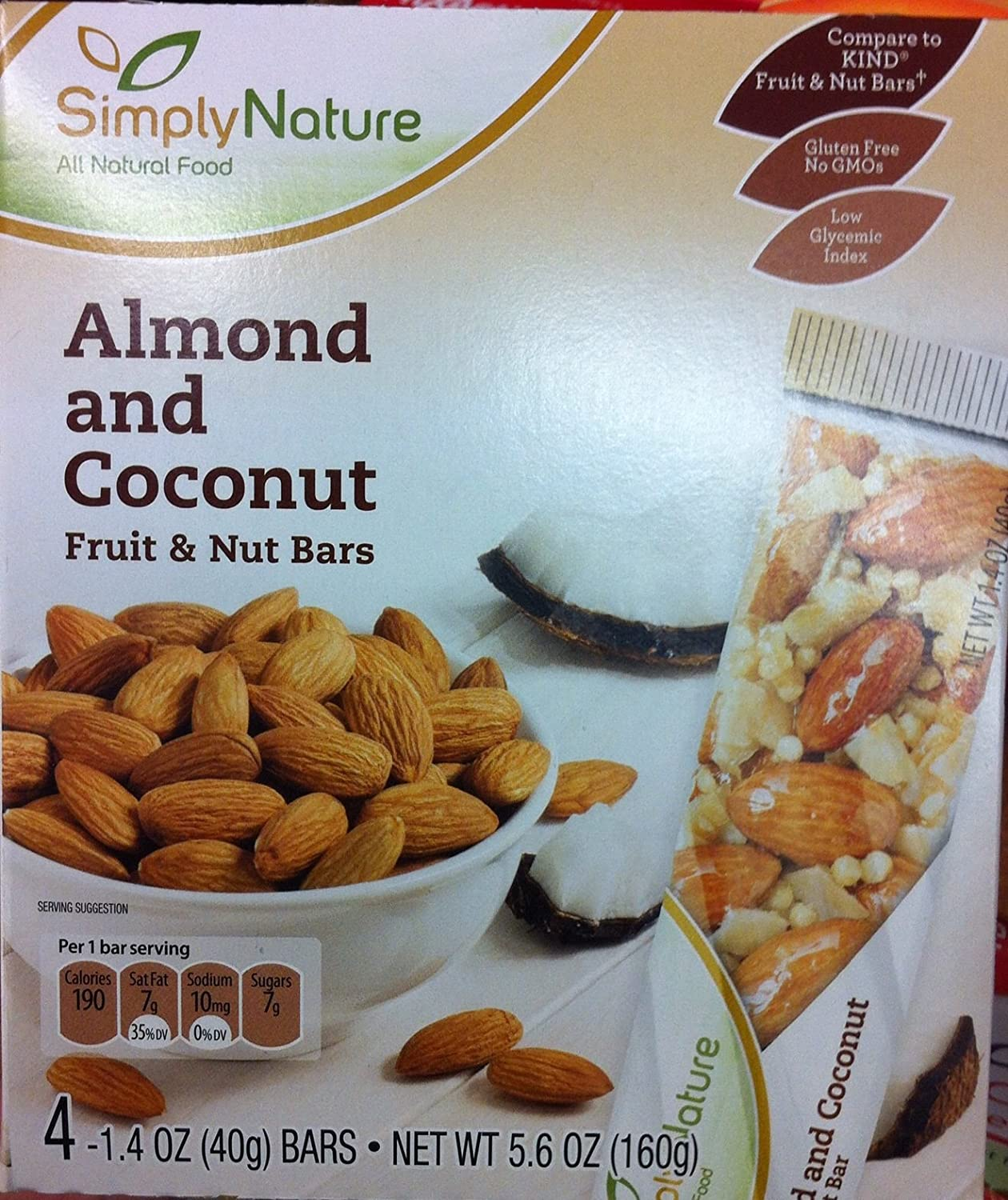 Amazon.com : Simply Nature Almond and Coconut Fruit and Nut Bars 1.4 ...