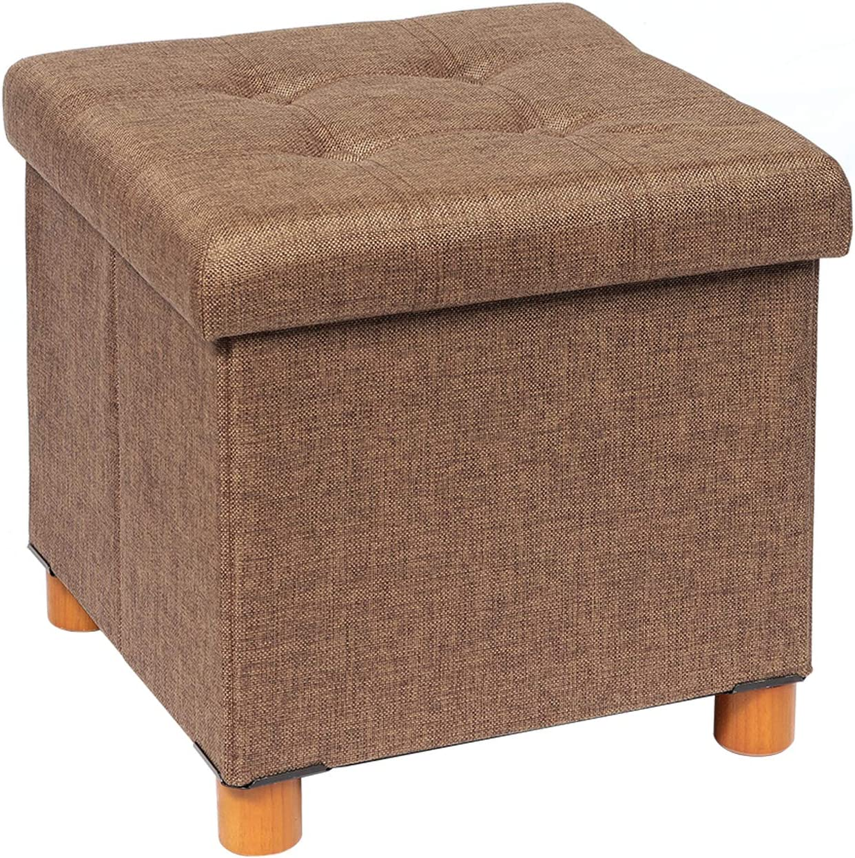 B FSOBEIIALEO Storage Ottoman with Tray, Foot Stools and Ottomans with Wooden Feet, Storage Cube Seat Linen Brown 15""
