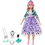 Barbie Princess Adventure Daisy Doll in Princess Fashion (12-inch Curvy) with Pink Hair, Pet Kitten, Tiara, 2 Pairs of Shoes