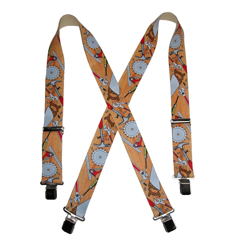CTM/® Mens Elastic Clip-End 2 Inch Carpenter Work Suspenders Yellow