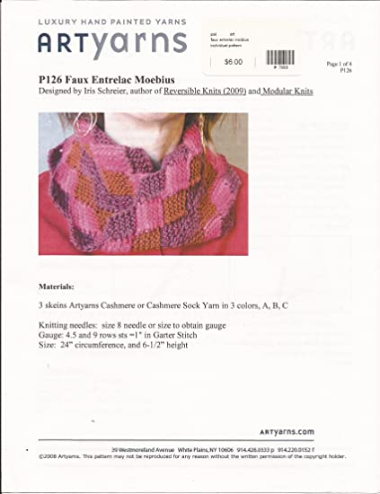 Amazon Com Faux Entrelac Moebius Artyarns Knitting Pattern P126